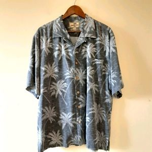 Jamaica Jaxx Men's Silk Hawaiian Gray Shirt Lg